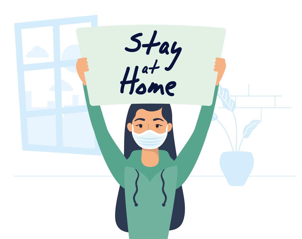 kvinna med en vistelse hem skylt vektor