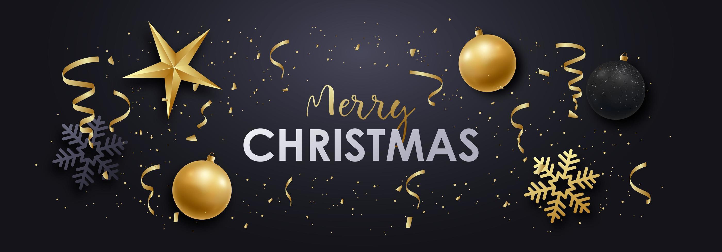 god jul realistisk prydnad, snöflinga och konfettibanner vektor