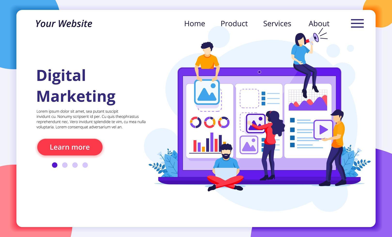 digitales Marketingkonzept, Mitarbeiter, die Produkte online bewerben vektor