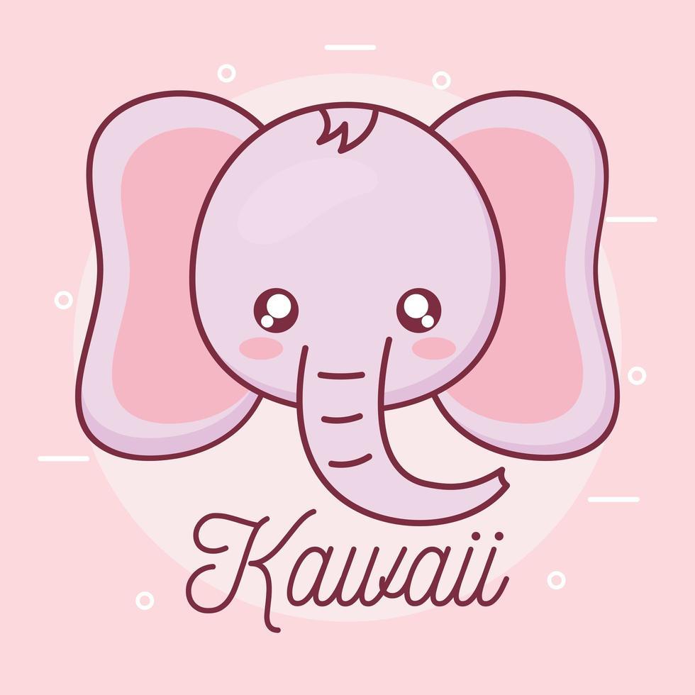 kawaii elefant djur tecknad design vektor