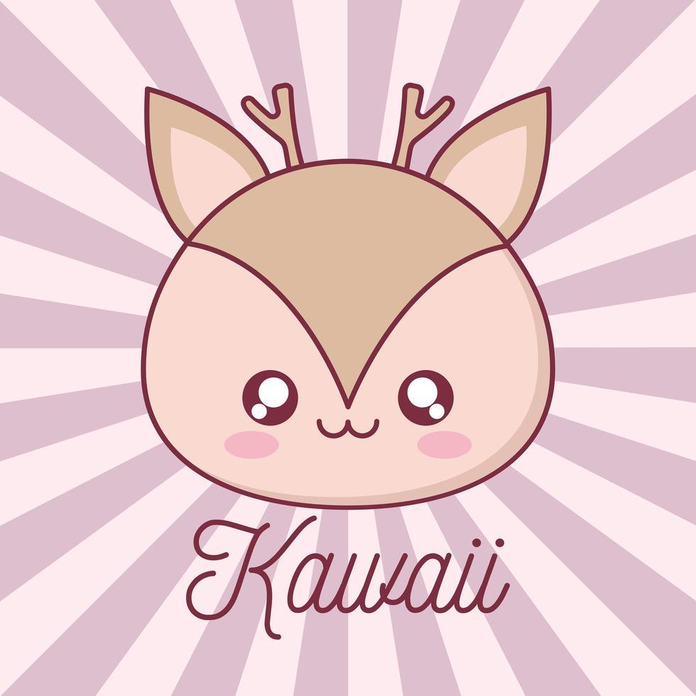 kawaii ren djur tecknad design vektor