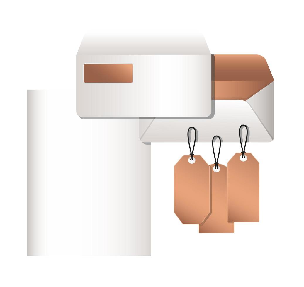 isolerade mockup kuvert och etiketter design vektor
