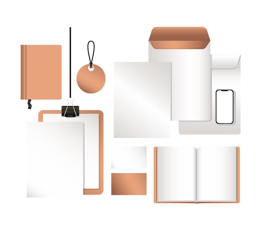 mockup smartphone kuvert och anteckningsbok design vektor