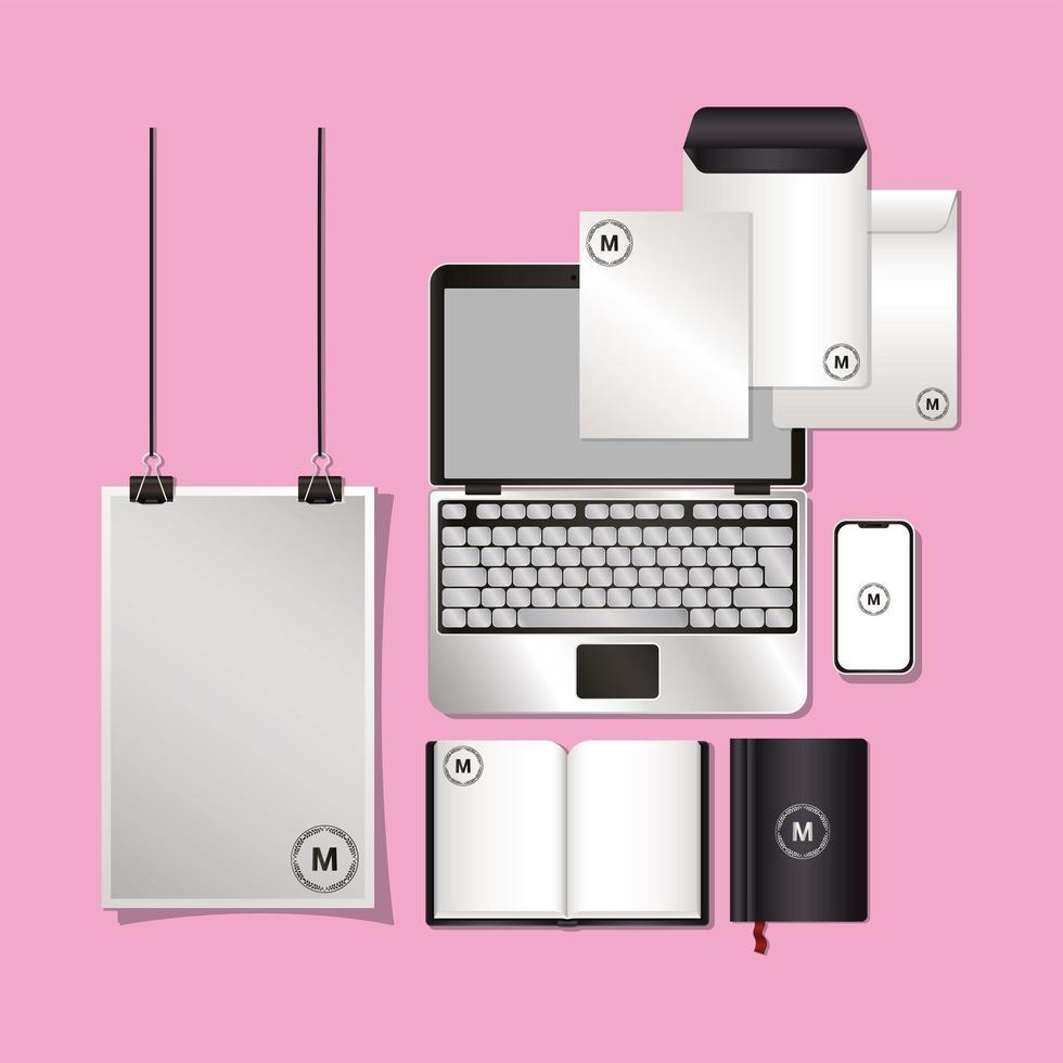 laptop och mockup set med svart branding design vektor