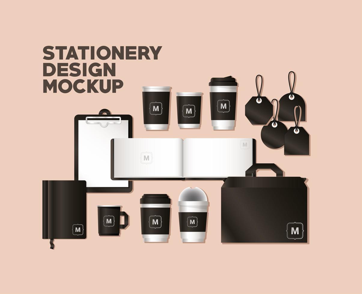 Modell mit schwarzem Branding-Design vektor