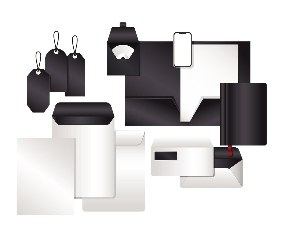 mockup set med svart branding design vektor