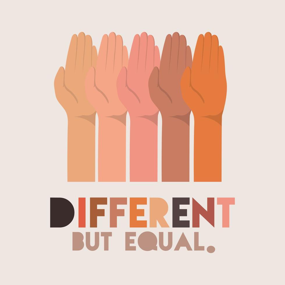 olika men lika och mångfald skinn design vektor