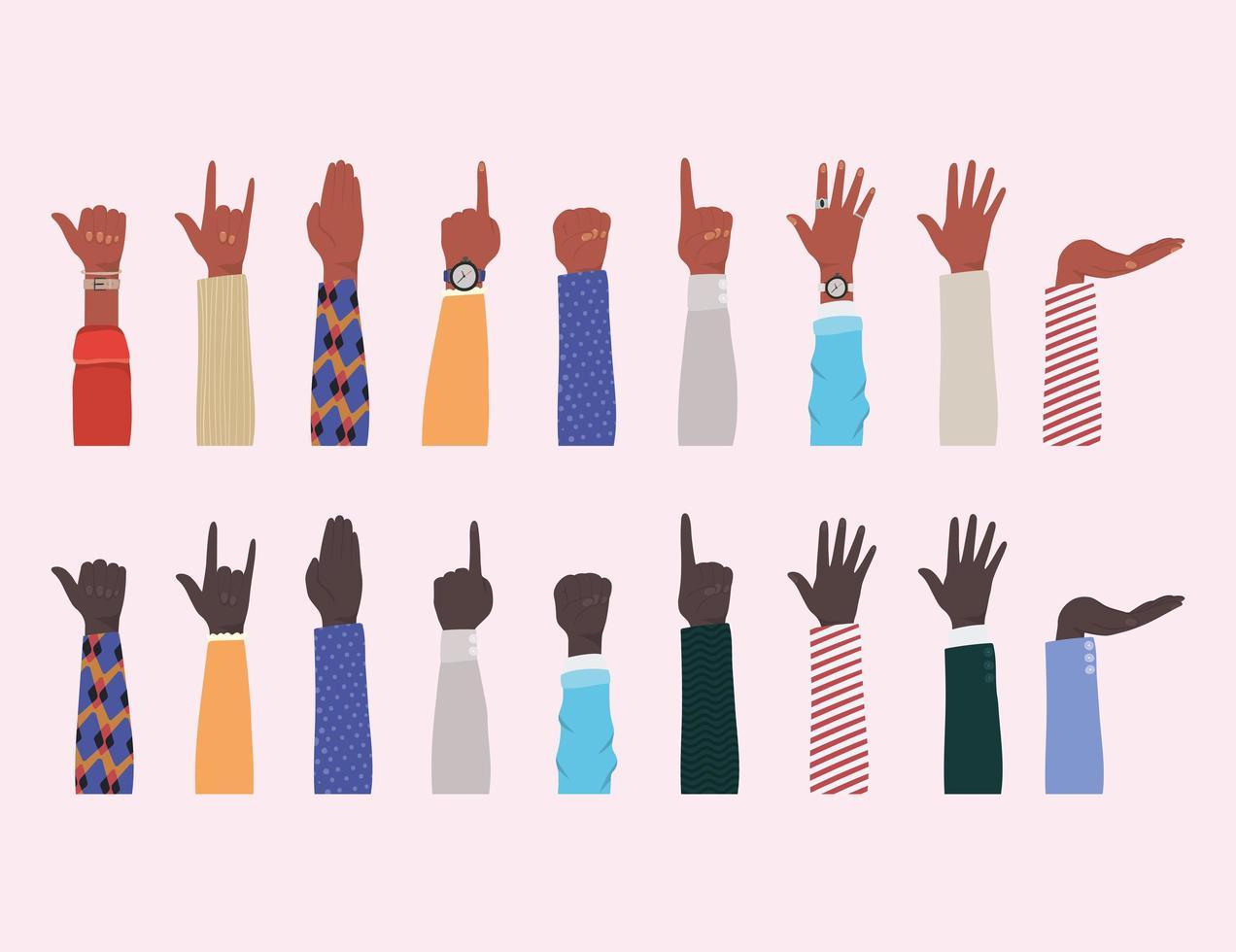 Hände hoch von verschiedenen Arten von Skins Design vektor