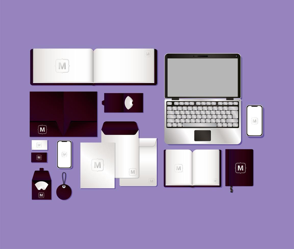 mockup set med mörk lila branding design vektor