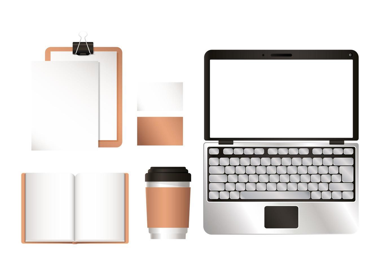 mockup laptop och företagsidentitet uppsättning design vektor