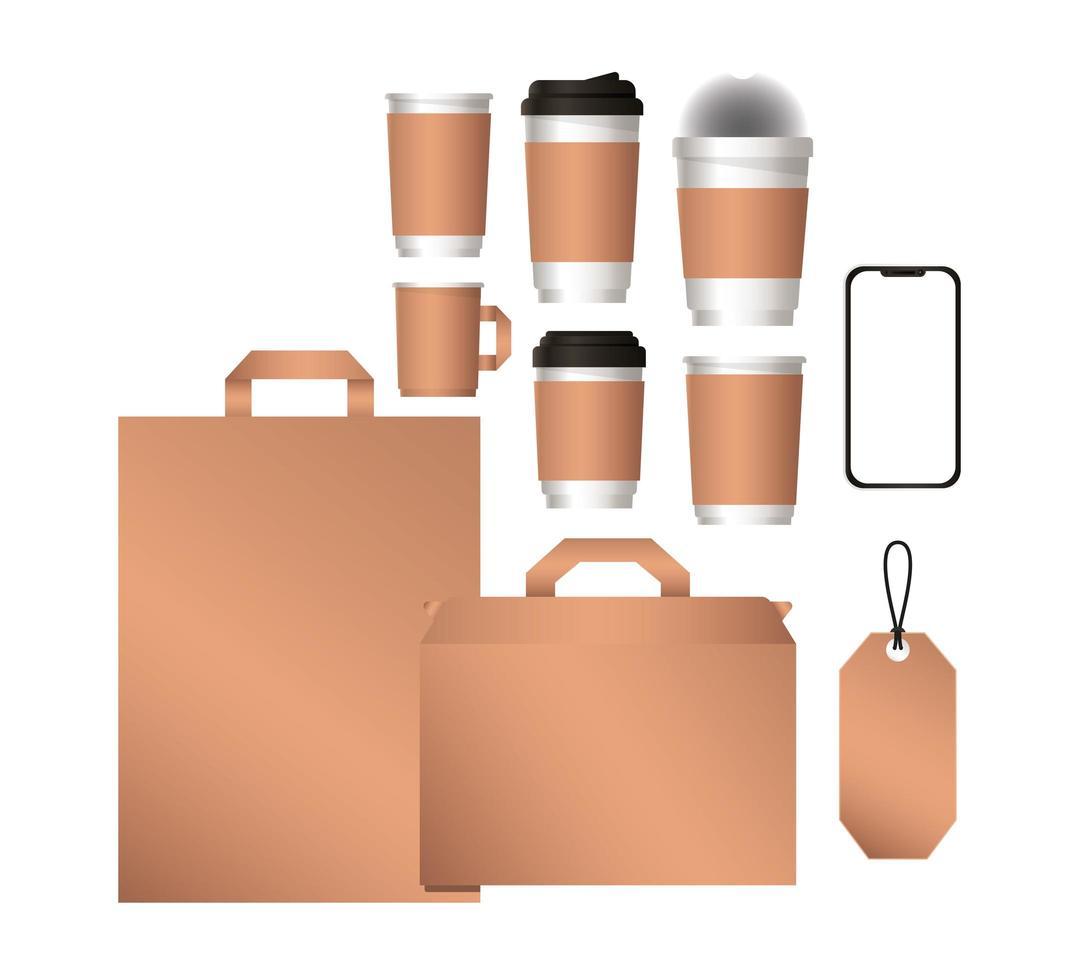 mockup smartphone väskor och kaffemuggar design vektor