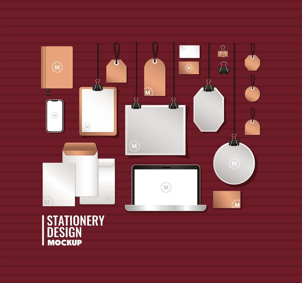 bärbar dator och branding mockup set design vektor
