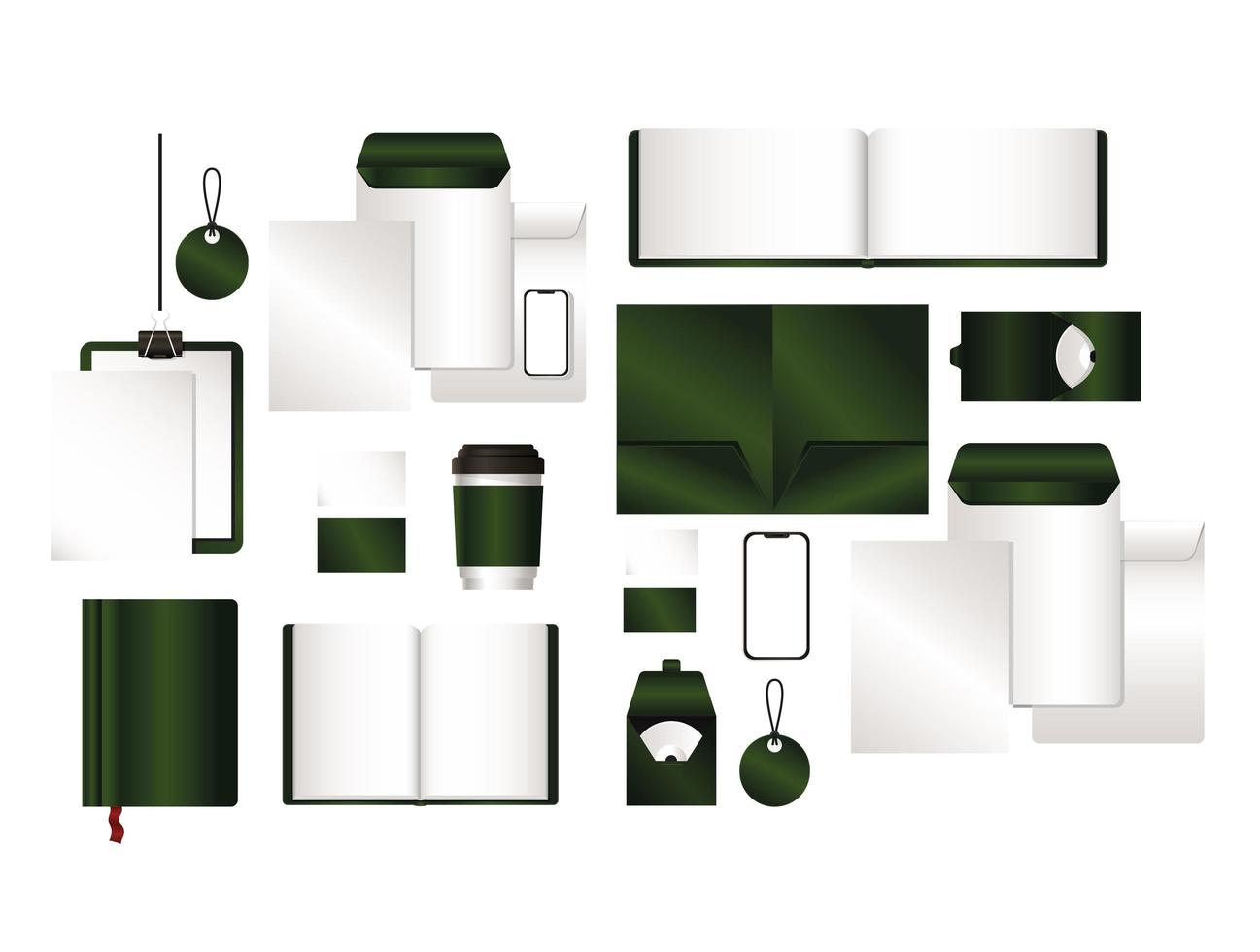 mockup set med grön varumärkesdesign vektor