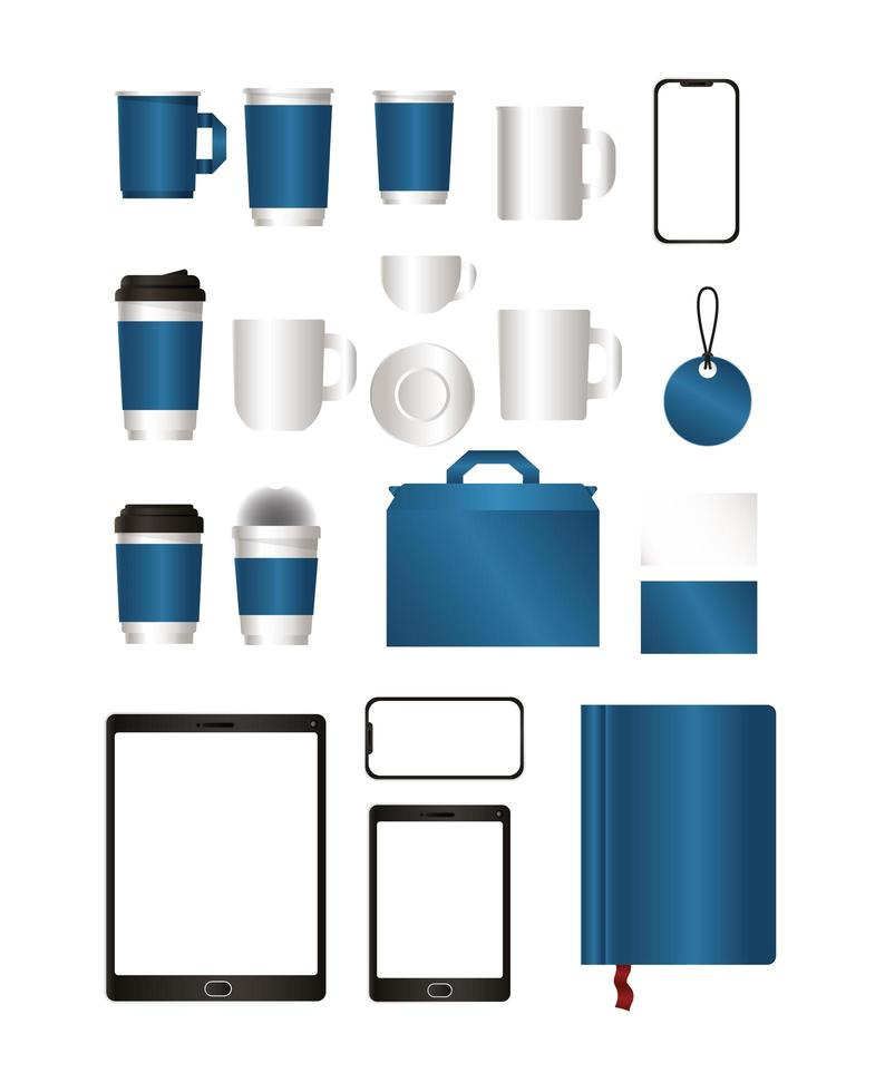 mockup set med blå branding design vektor