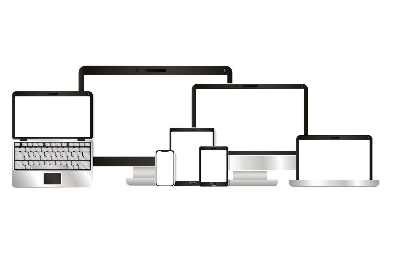 dator bärbar dator surfplatta och smartphone design vektor