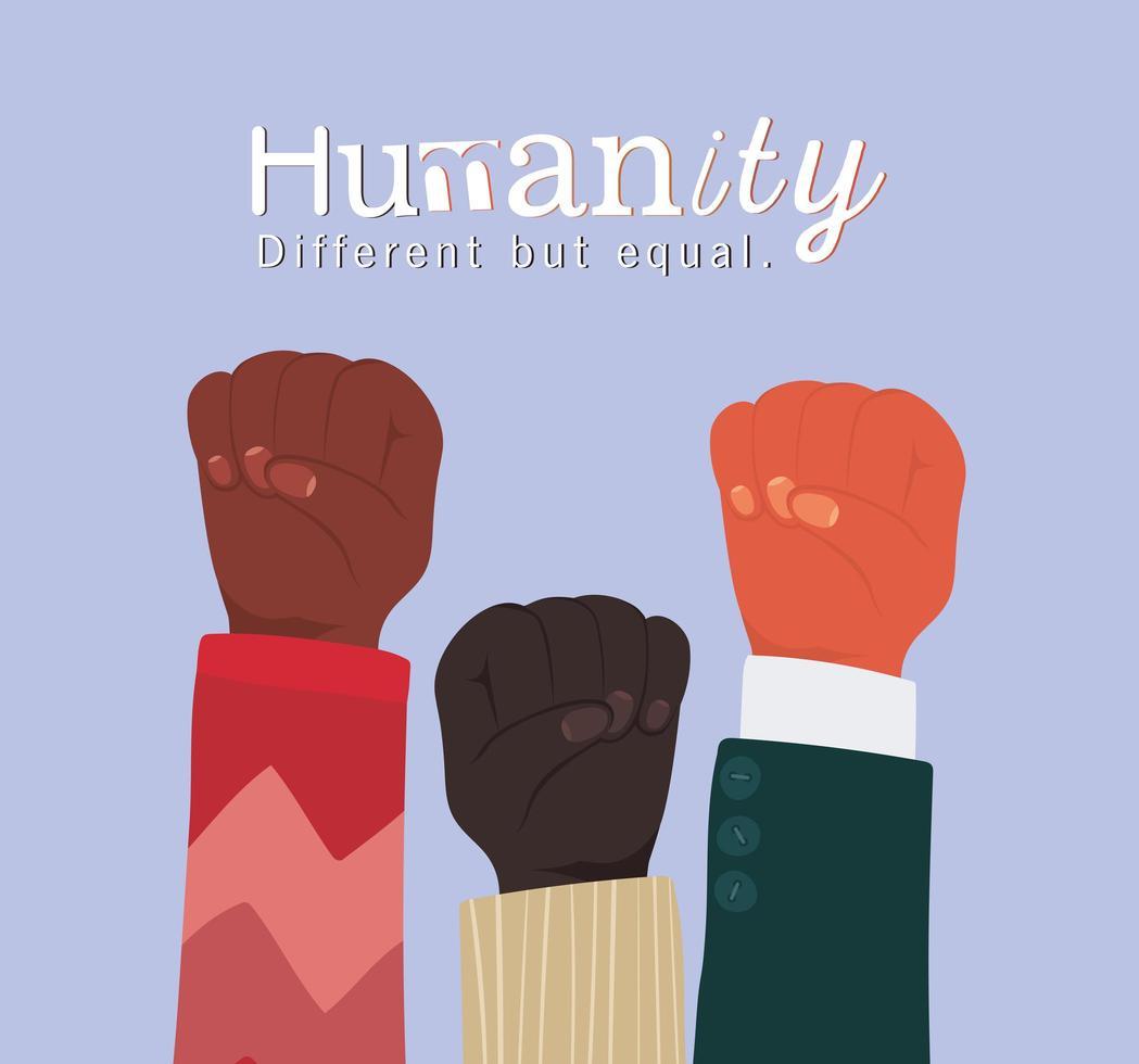 Menschheit anders, aber gleich und Vielfalt Fäuste vektor