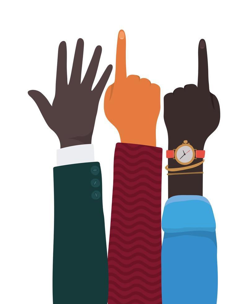 Nummer eins Zeichen und Hände offen vektor