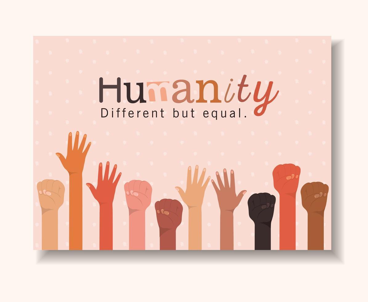 Menschheit anders, aber gleich und Vielfalt Hände vektor