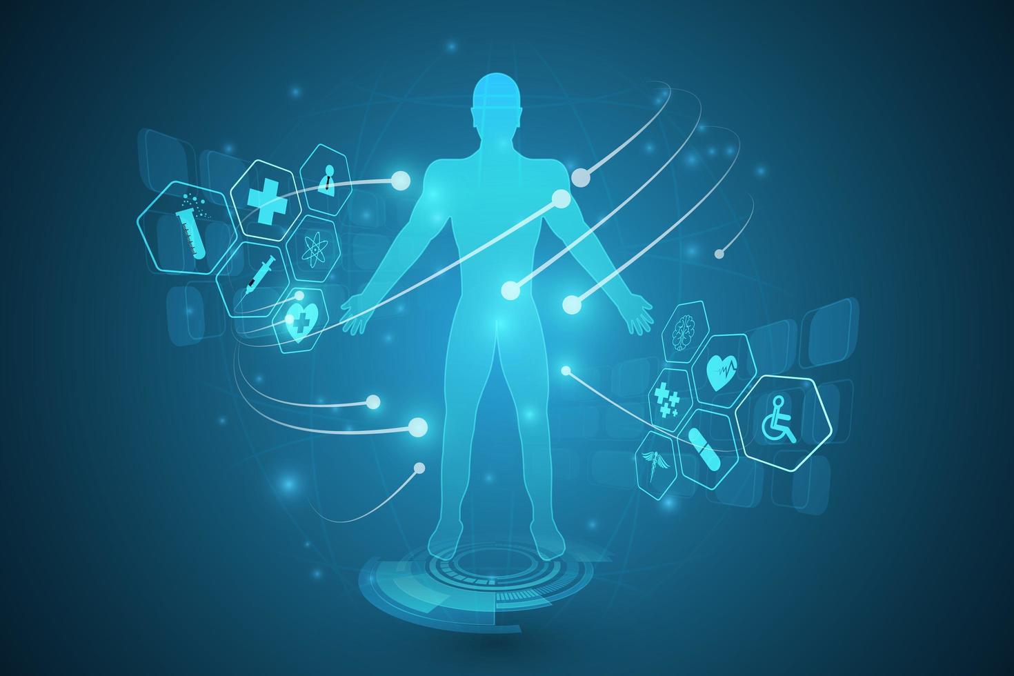 Diagramm des menschlichen Körpers auf High-Tech-Wissenschaftshintergrund vektor