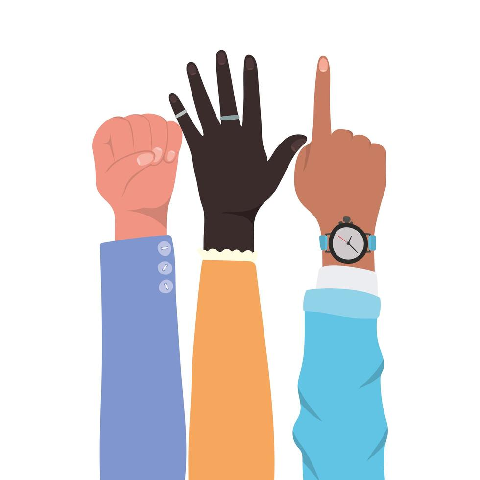 Faust Nummer eins Zeichen und offene Hände hoch vektor