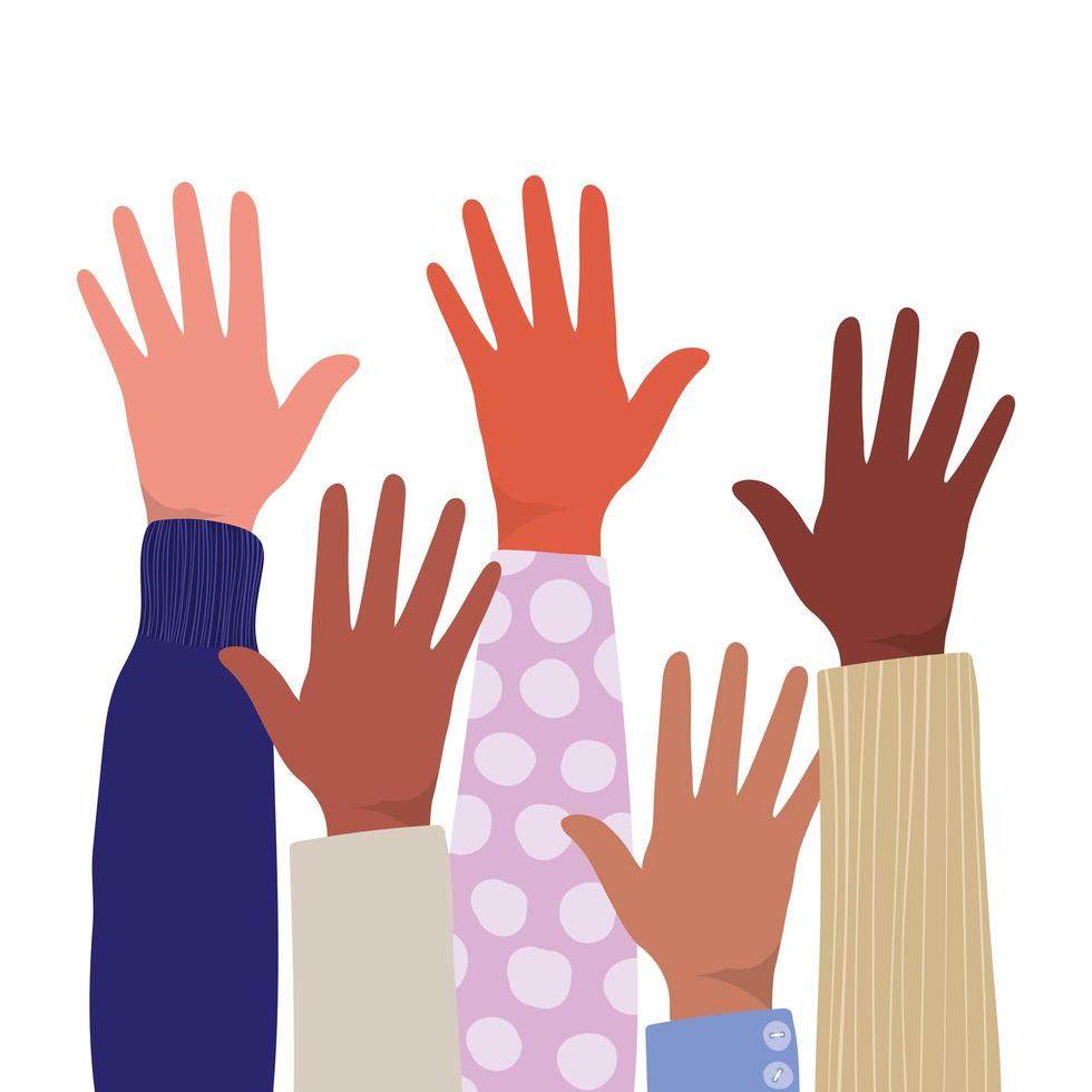 öppna händerna på olika typer av skinn vektor