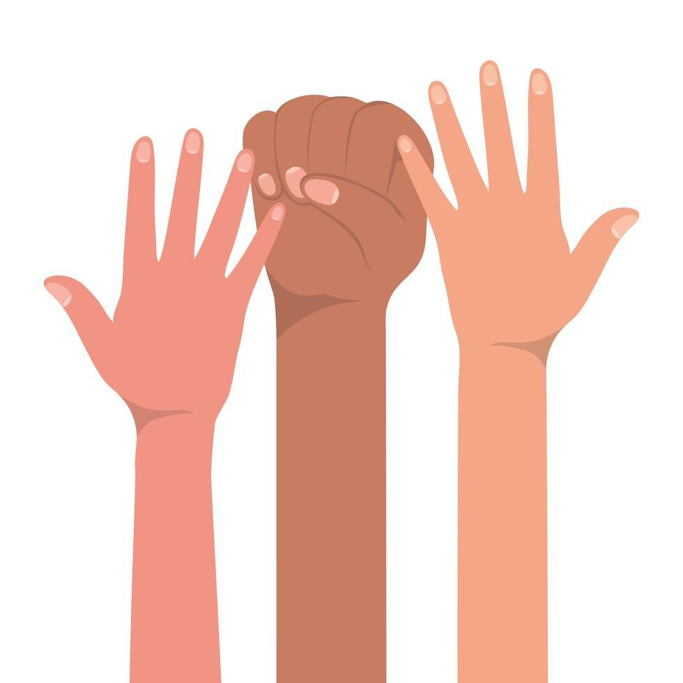Faustzeichen und offene Hände hoch vektor