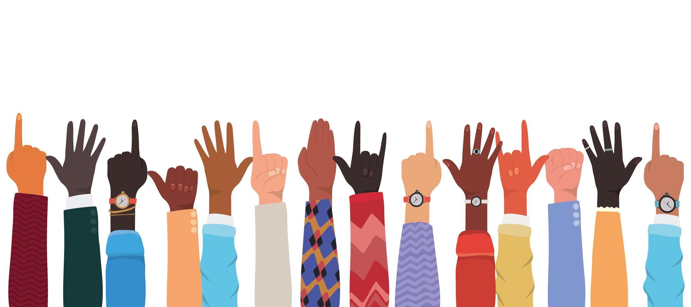 hands up av olika typer av skinndesign vektor