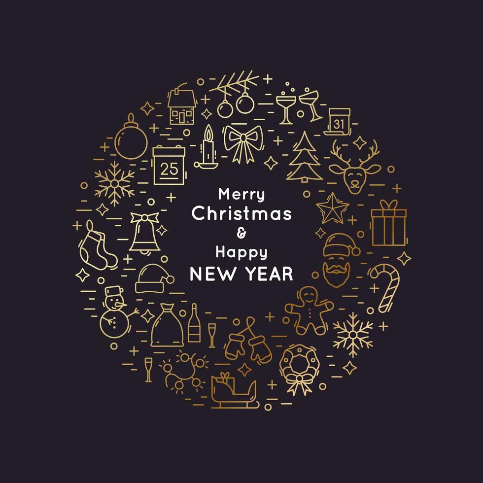 Weihnachts- und Neujahrskranz der goldenen Linie vektor
