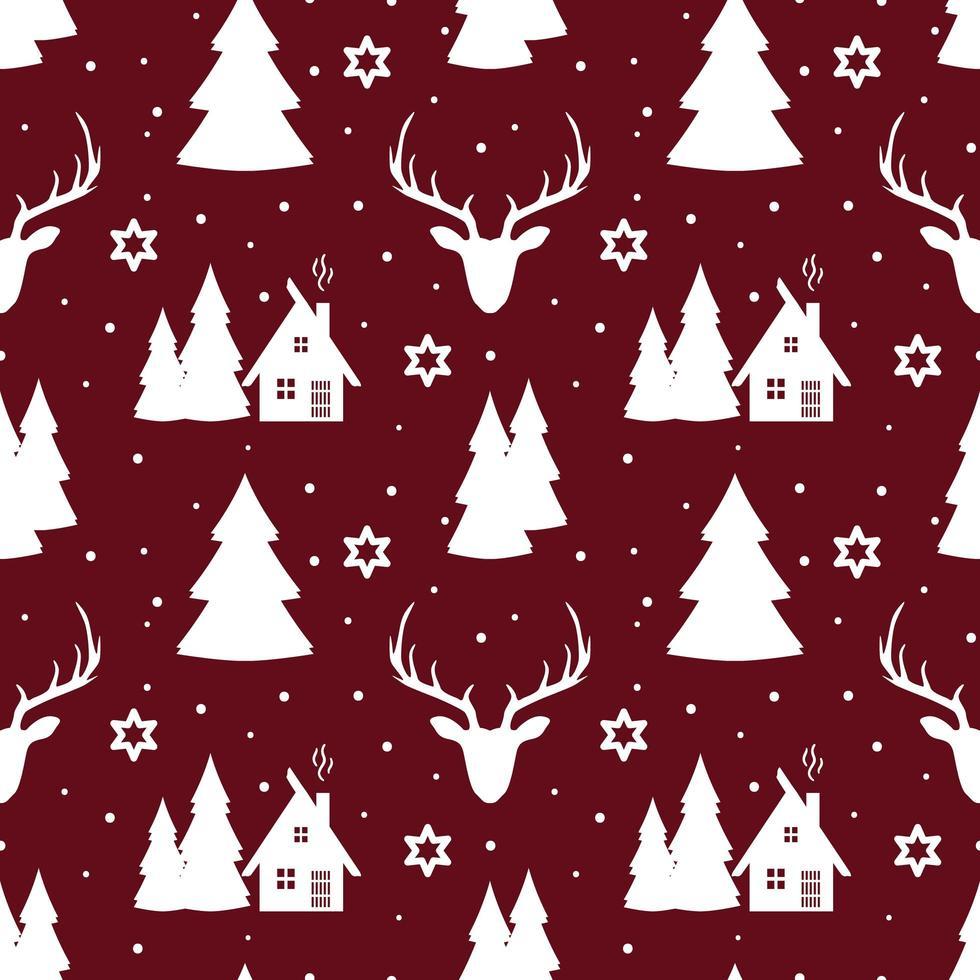 jul sömlösa mönster med rådjur, snöflingor och träd vektor