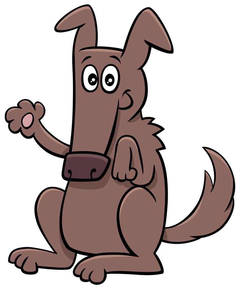 Cartoon lustige Hund Tier Charakter winken Pfote vektor