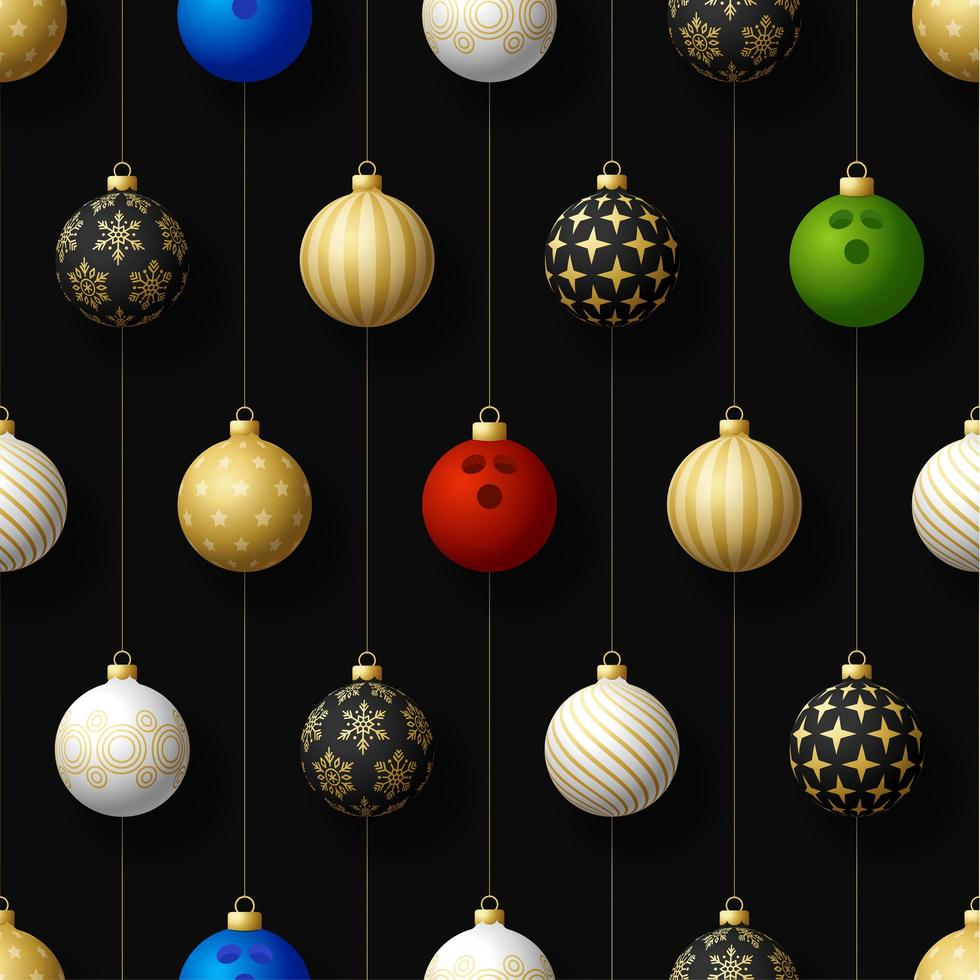 jul hängande ornament och bowlingboll sömlösa mönster vektor