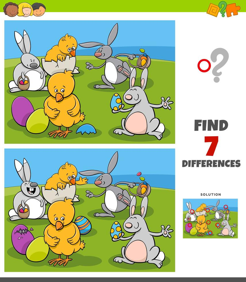 skillnader uppgift med komiska påsk karaktärer vektor