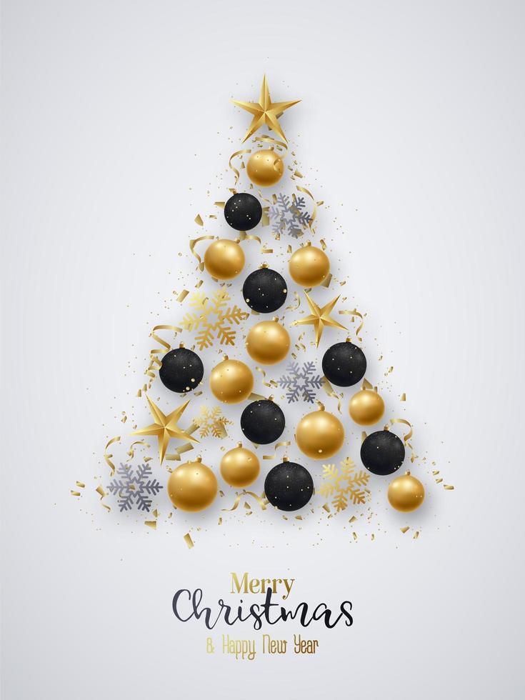 Weihnachtskugeln und helle Schneeflocken in Baumform vektor
