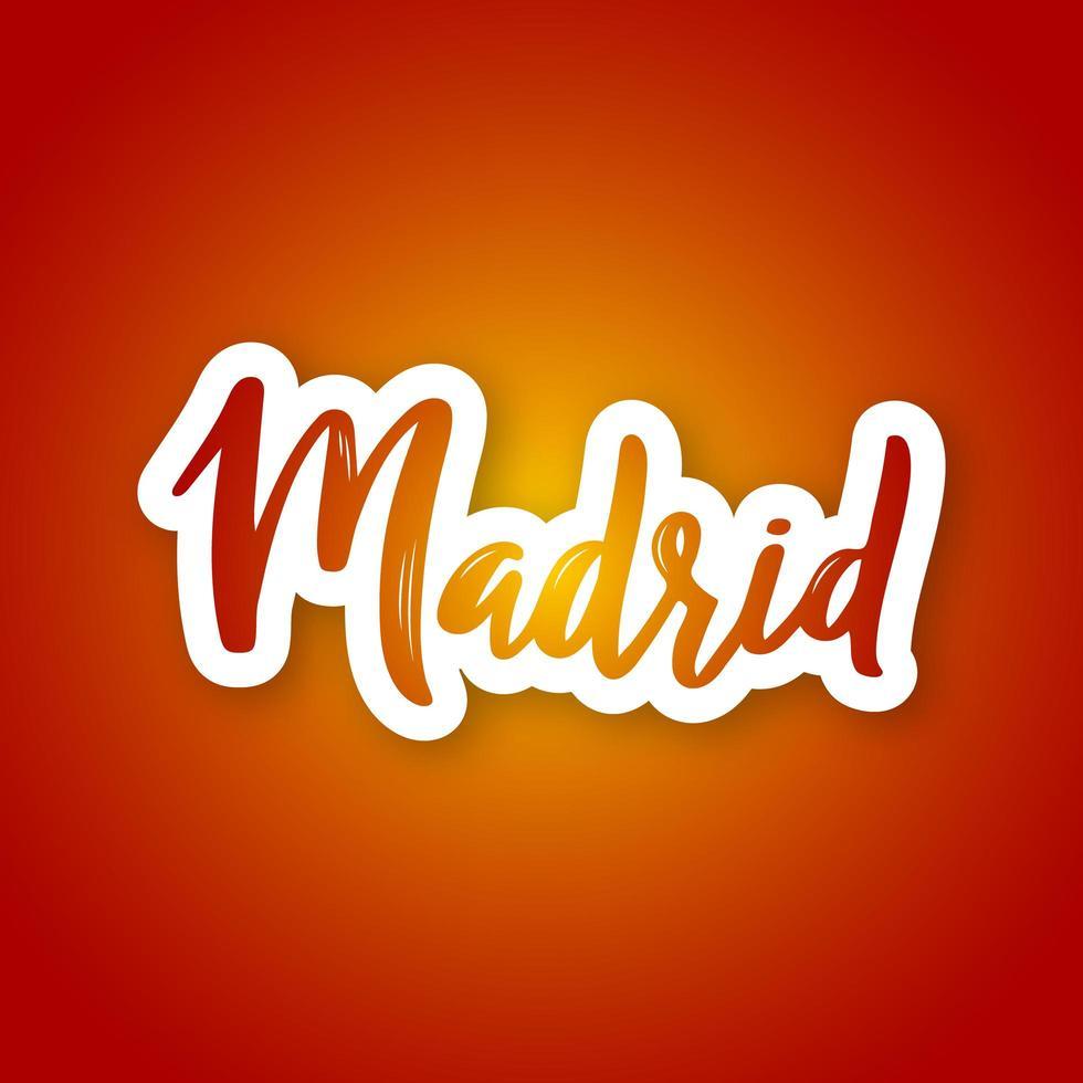 Madrid Hand gezeichnete Beschriftung auf Farbverlauf vektor