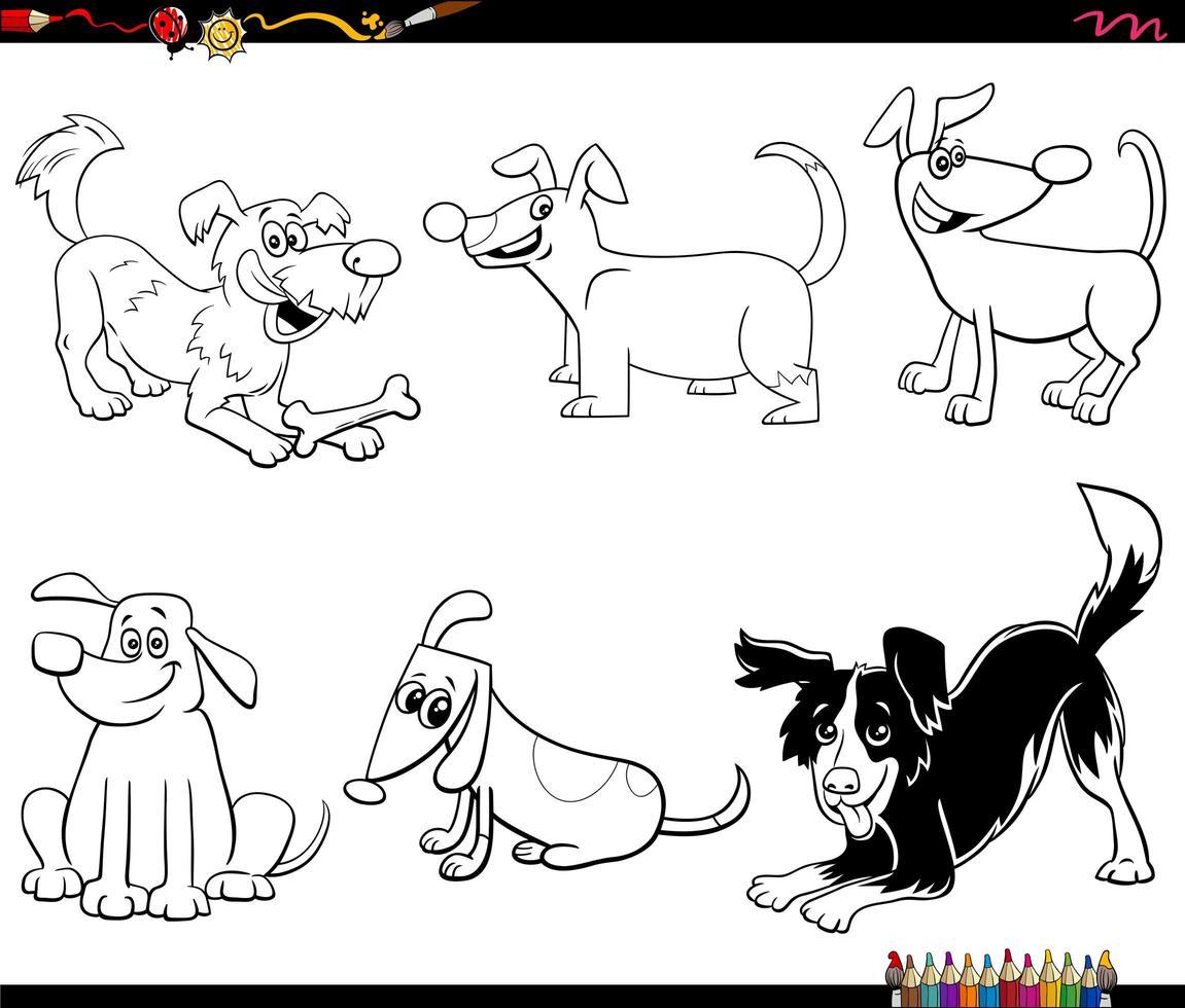 Cartoon Hunde und Welpen Set Malbuch Seite vektor