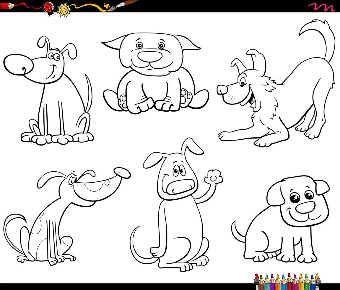 tecknade hundar och valpar anger färg bok sida vektor
