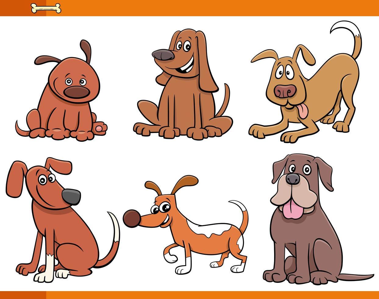 Hunde und Welpen niedliche Tiercharaktere gesetzt vektor