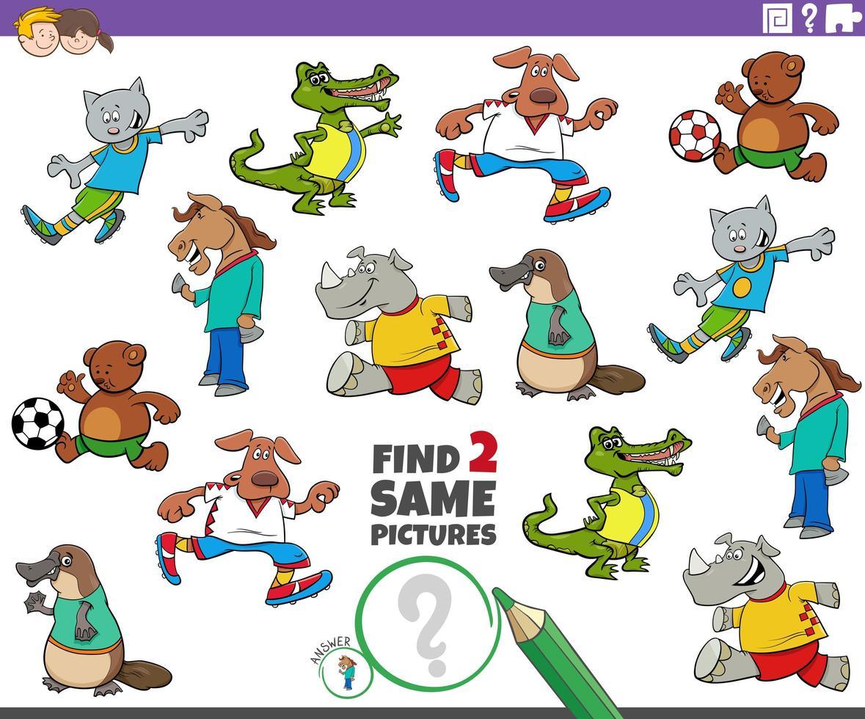 Finden Sie zwei gleiche Tiere Aufgabe für Kinder vektor
