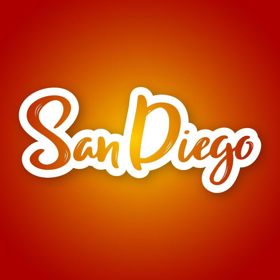 Hand gezeichnete Beschriftung von San Diego auf Farbverlauf vektor