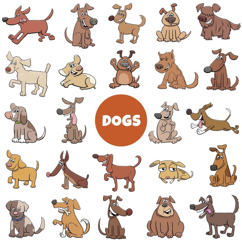 Cartoon lustige Hunde Charaktere großen Satz vektor