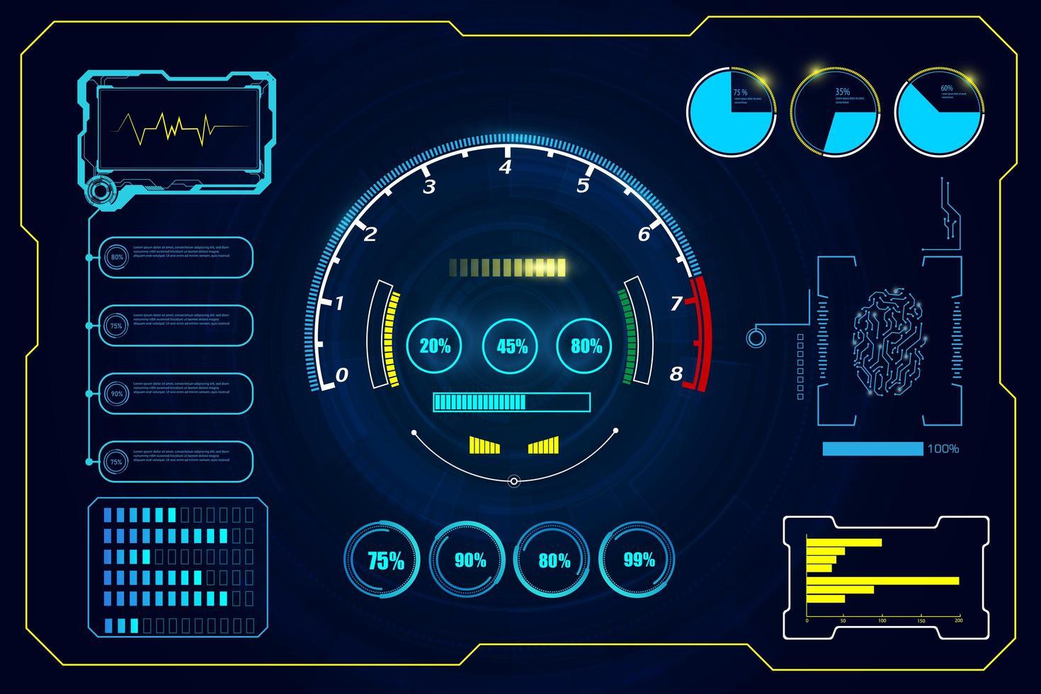 futuristischer Hud Interface Hintergrund vektor