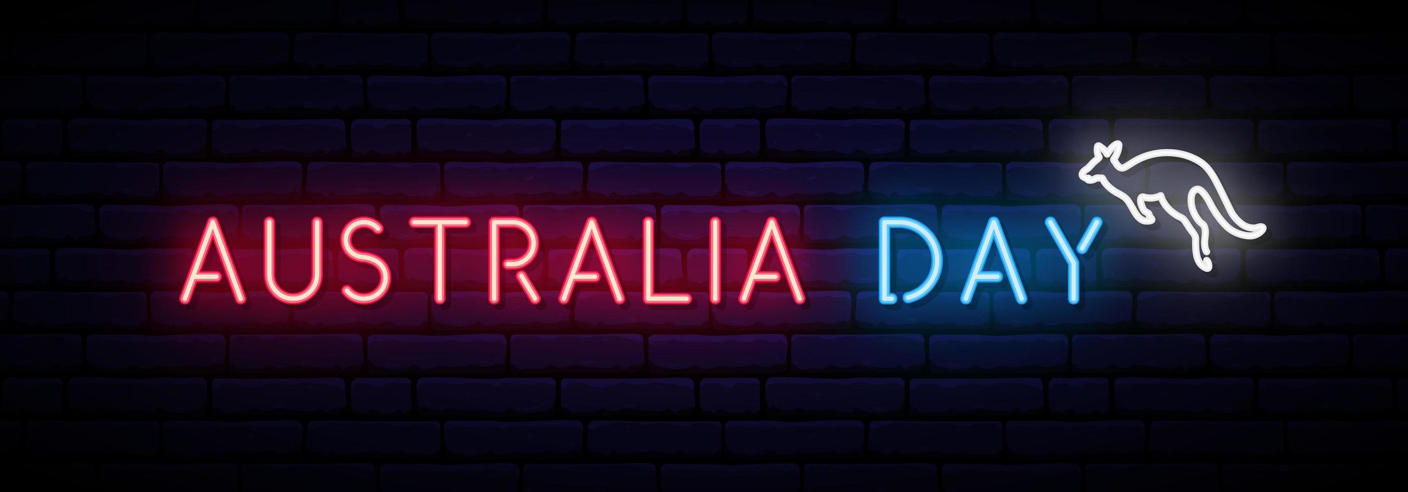 Australien Tag Neon Inschrift und Känguru. vektor