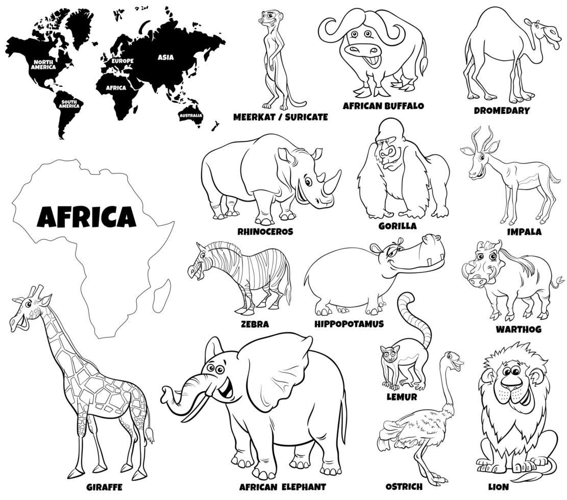 pedagogisk uppsättning afrikanska djur vektor