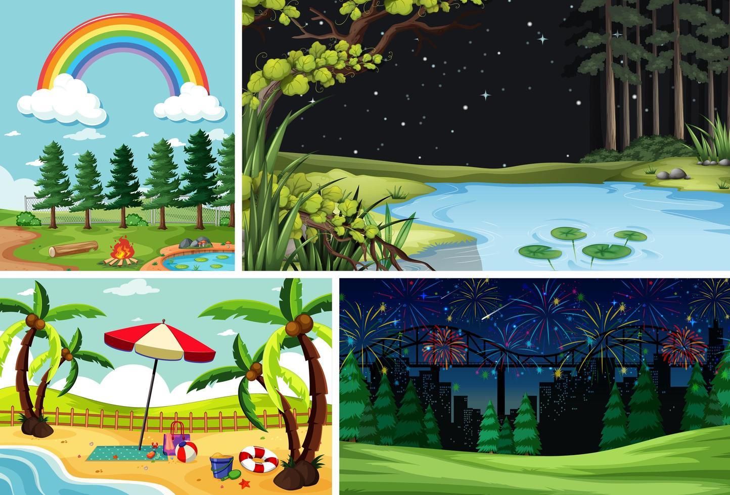 Vier verschiedene Szenen im Cartoon-Stil der Natur vektor