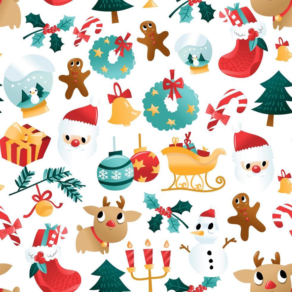 rolig tecknad jul semester dekorationer sömlösa mönster vektor