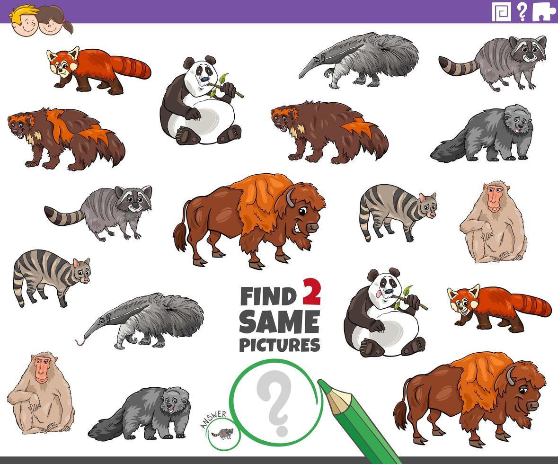 Finde zwei gleiche Tierfiguren für Kinder vektor