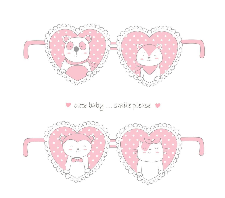 Valentinstag Design mit niedlichen Tieren in Herzen vektor