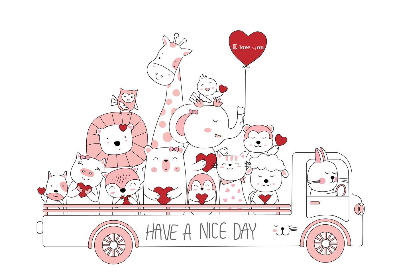 söta baby djur med hjärtan i lastbil vektor