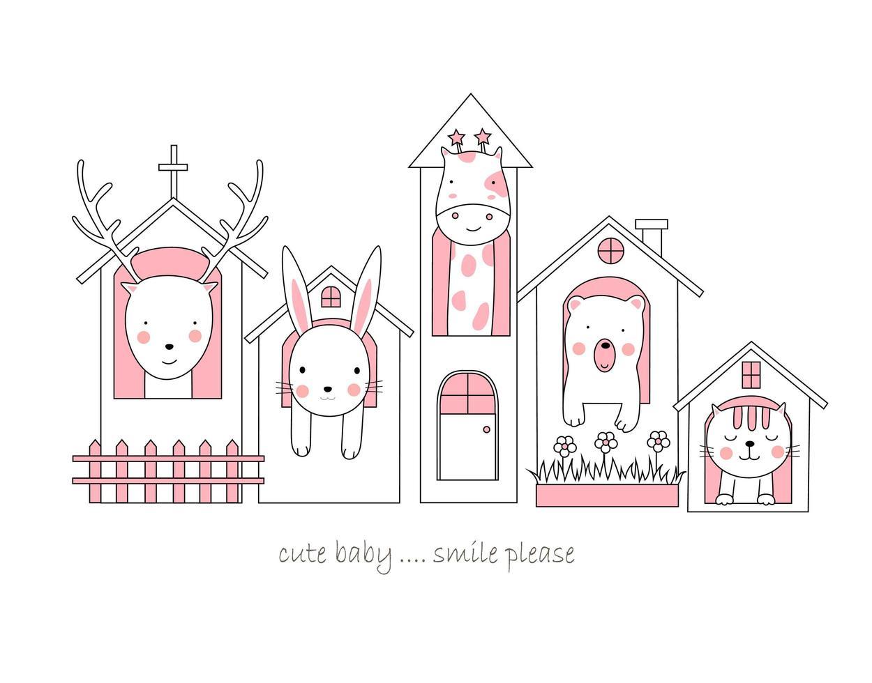 söta baby djur i hus vektor