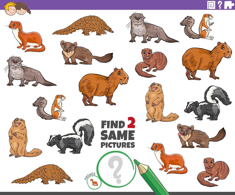 Finde zwei gleiche Tierfiguren Aufgabe für Kinder vektor
